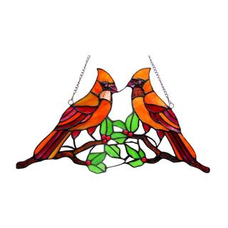 Tiffany Style Cardinal Design Window Panel/ Suncatcher