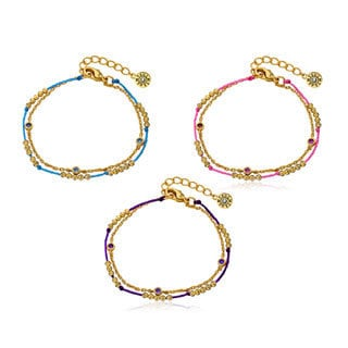 Little Miss Twin Stars 14k Gold Plated Stones and Chord 2-strand Bracelet