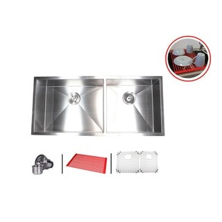 Stainless Steel 42-inch Double-bowl 60/40 Zero Radius Undermount Kitchen Sink Combo