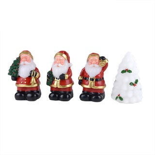 Hand-carved 4-piece White Xmas Tree and Santa LED Candles Set