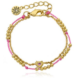 Little Miss Twin Stars 14k Gold Plated Beads and Heart Center 2-strand Bracelet