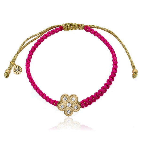 Little Miss Twin Stars Brass 14k Gold Plated Cubic Zirconia Flower Hot Pink Cord Bracelet