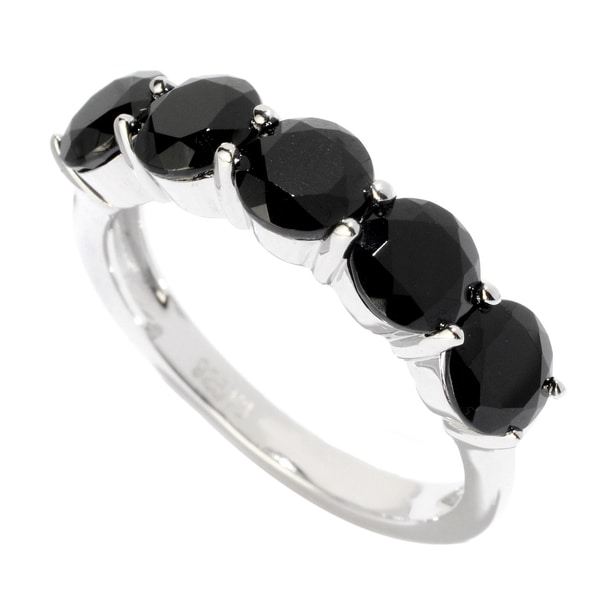 Sterling Silver Black Spinel 5-stone Ring