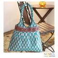 Handcrafted Polyester 'Paisley Turquoise' Large Shoulder Bag (India)
