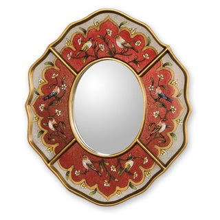 Handcrafted Reverse Painted Glass 'Song of Spring' Mirror (Peru)
