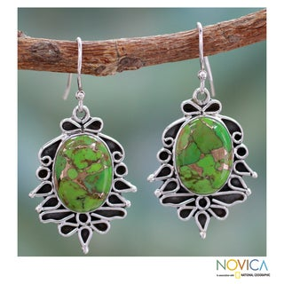 Sterling Silver 'Forest Sonnet' Composite Turquoise Earrings (India)