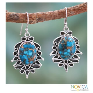 Sterling Silver 'Sky Poetry' Composite Turquoise Earrings (India)