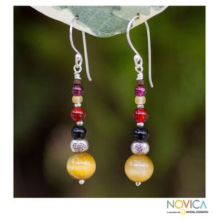 Sterling Silver 'Beauty At Sunset' Multi-gemstone Earrings (Thailand)