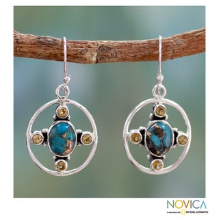 Sterling Silver 'Orbit' Composite Turquoise Earrings (India)