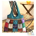 Handcrafted Polyester 'India Icons' Large Shoulder Bag (India)