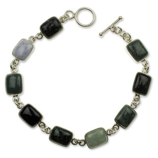 Sterling Silver 'Ya'Ax Chich Colors' Jade Bracelet (Guatemala)