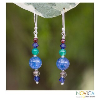 Handcrafted Silver 'Sea Song' Multi-gemstone Earrings (Thailand)