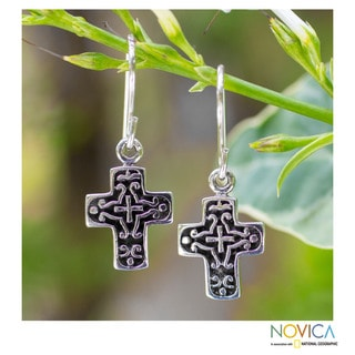 Handcrafted Sterling Silver 'Eternal Cross' Earrings (Thailand)