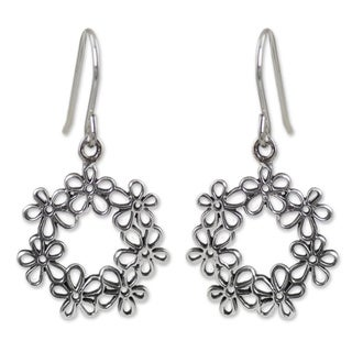 Handcrafted Sterling Silver 'Floral Tiara' Earrings (Thailand)
