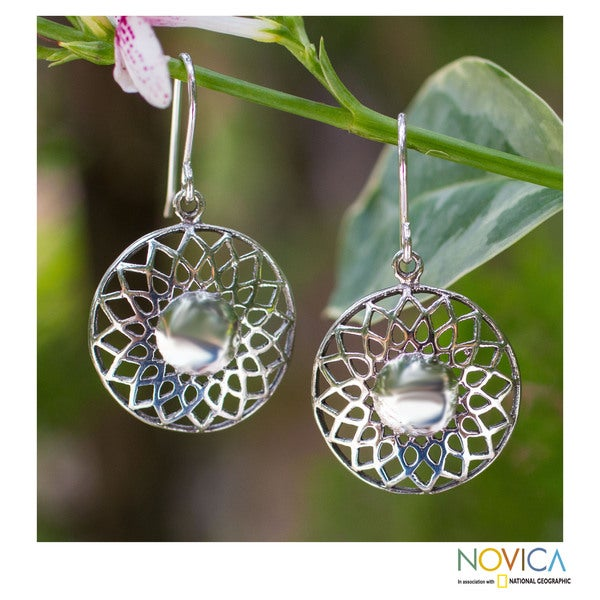 Handcrafted Sterling Silver 'Lotus Blossom' Earrings (Thailand)