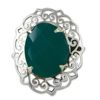 Sterling Silver 'India Secret' Onyx Ring (India)