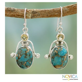 Sterling Silver 'Goddess' Citrine and Turquoise Earrings (India)
