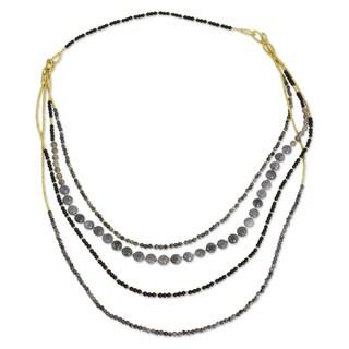 Handcrafted Brass 'Serenade' Labradorite Quartz Necklace (Thailand)