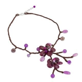 Handcrafted Quartz 'Burgundy Bouquet' Garnet Necklace (Thailand)