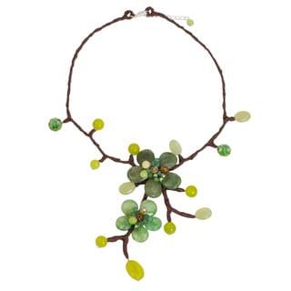 Handcrafted Quartz 'Forest Bouquet' Carnelian Necklace (Thailand)