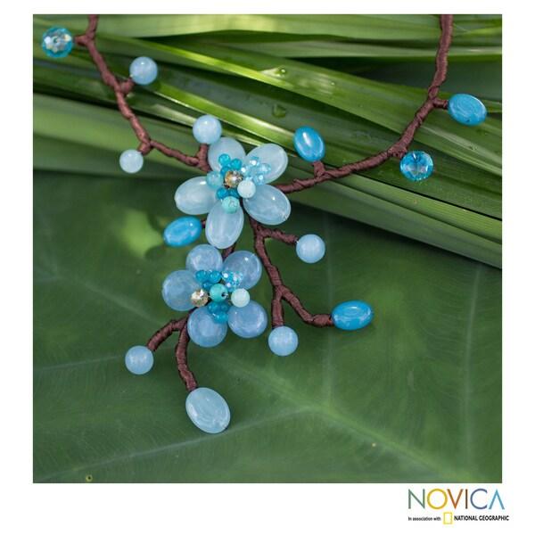 Handcrafted Quartz 'Turquoise Blue Spray' Calcite Necklace (Thailand)