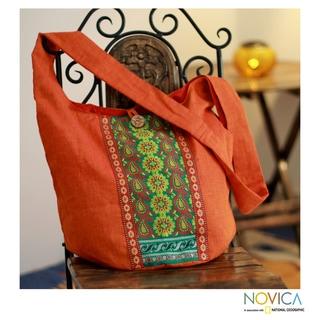 Handcrafted Cotton 'Assam Splendor' Large Shoulder Bag (India)