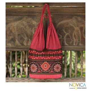 Cotton 'Siam Ruby' Medium Shoulder Bag (Thailand)