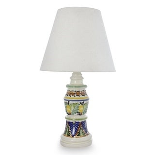 Handcrafted Ceramic 'Mexican Floral' Majolica Table Lamp (Mexico)