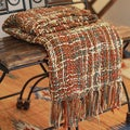Joyous Earth Handcrafted 100% Acrylic Hand Knotted Fringe Orange Brown Cream Olive Soft Decorator Accent Woven Throw (India)