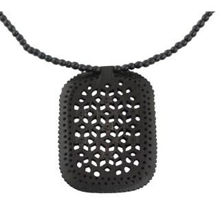 Handcrafted Ebony Wood 'Loyal Mughal Enchantress' Necklace (India)