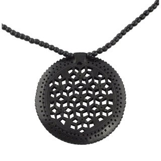 Handcrafted Ebony Wood 'Mughal Enchantress Medallion' Necklace (India)