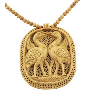 Handcrafted Kadam Wood 'Swan Kiss' Necklace (India)