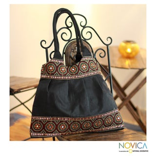 Handcrafted Polyester 'Night Sky Mandalas' Large Shoulder Bag (India)