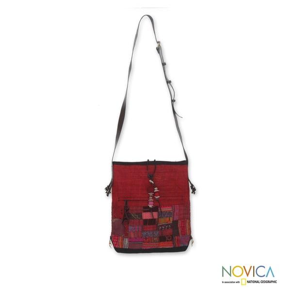 Cotton Hemp 'Crimson Chonburi' Medium Shoulder Bag (Thailand)