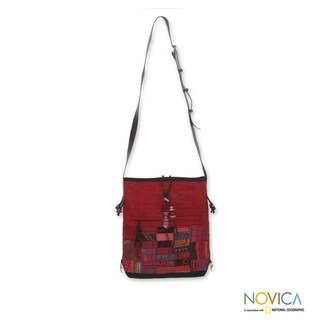 Cotton Hemp 'Crimson Chonburi' Medium Shoulder Bag (Thailand)