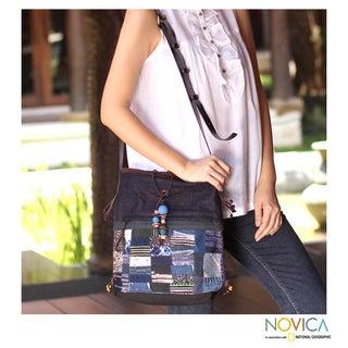 Cotton Hemp Leather 'Navy Chonburi' Medium Shoulder Bag (Thailand)