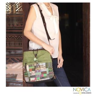 Cotton Hemp 'Jade Chonburi' Medium Shoulder Bag (Thailand)