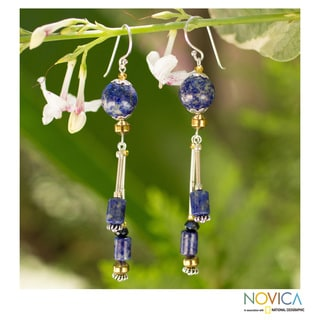 Sterling Silver 'Enchanted Sea' Lapis Lazuli Earrings (Thailand)