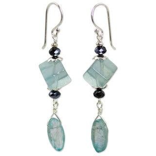 Sterling Silver 'Tranquility' Fluorite Phrenite Earrings (Thailand)