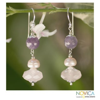 Silver 'Morning Beauty' Amethyst Pearl Earrings (8 mm) (Thailand)