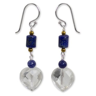 Sterling Silver 'Crystal Heart' Lapis Quartz Earrings (Thailand)