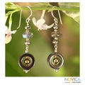 Sterling Silver 'Mysteries' Hematite Labradorite Earrings (Thailand)
