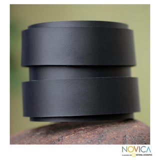 Men's Handcrafted Leather 'Modern Black Duo' Bracelet (Peru)