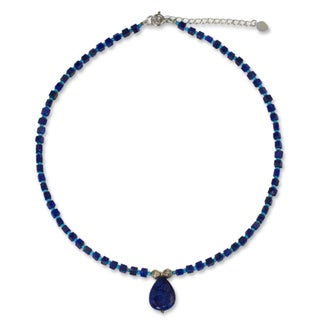 Depths of Blue Lapis Lazuli with Turquoise Color Calcite and 925 Sterling Silver Beads Womens Pendant Necklace (Thailand)
