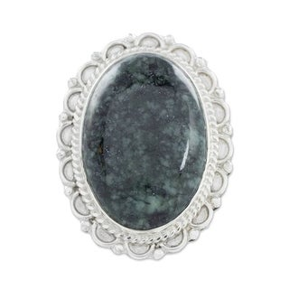 Sterling Silver 'Dark Green Forest Princess' Jade Ring (Guatemala)