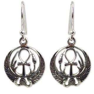 Handcrafted Sterling Silver 'Eternity's Key' Earrings (Thailand)