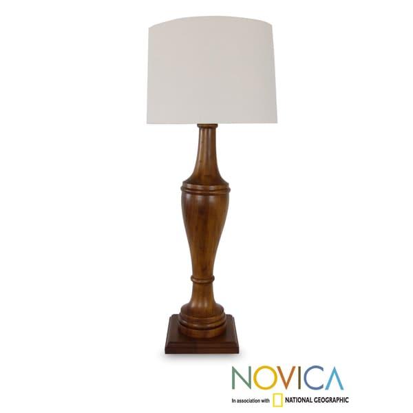 Handcrafted Parota Wood 'Light of Nostalgia' Lamp (Mexico)