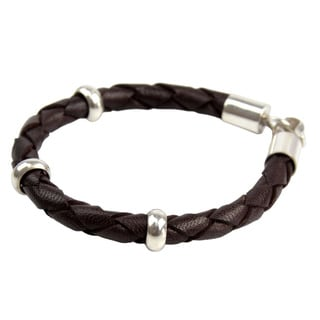 Men's Sterling Silver 'Brown Chankas Warrior' Leather Bracelet (Peru)