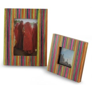 Set of 2 Handcrafted Wood 'Festive Delhi' Photo Frames , Handmade in India