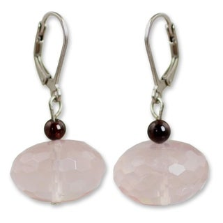 Silver 'Rose of Thailand' Rose Quartz Garnet Earrings (Thailand)
